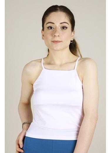 Z Giyim Likralı İp Askılı Büstiyer Beyaz